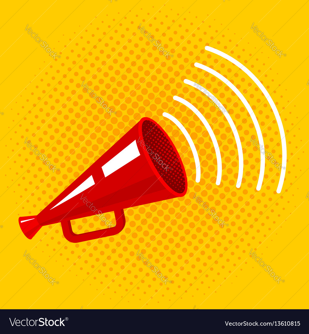 Megaphone on halftone background vector image