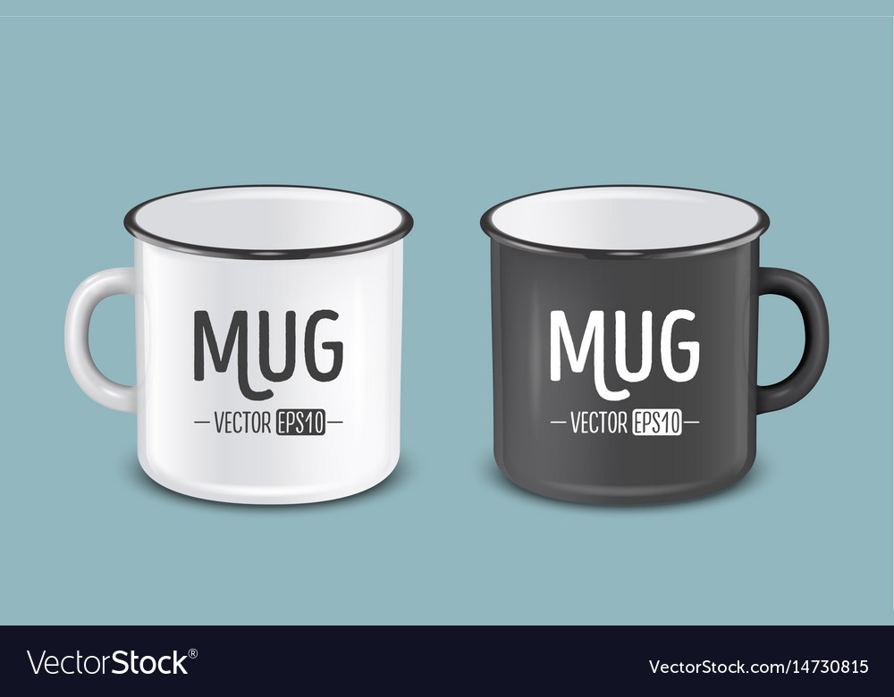 Realistic enamel metal white and black mugs vector image