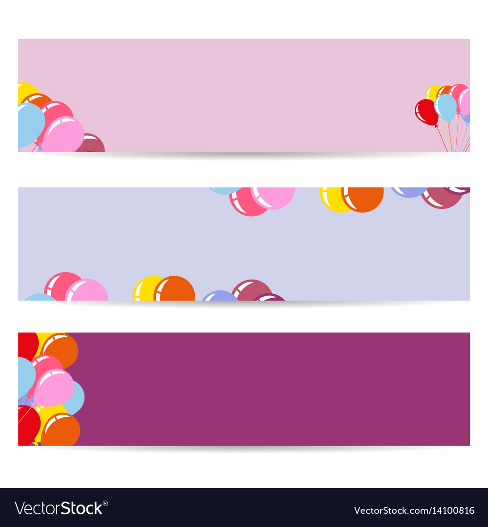 Three posters with air balloons empty flyers vector image