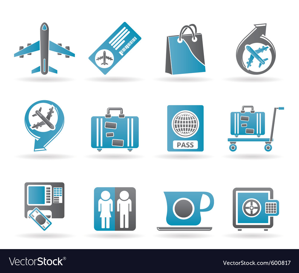 Airport and travel icons vector image