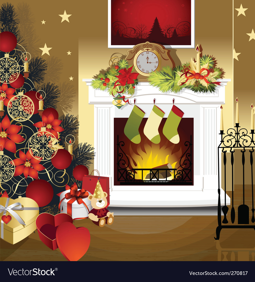 christmas room with fireplace royalty free vector image