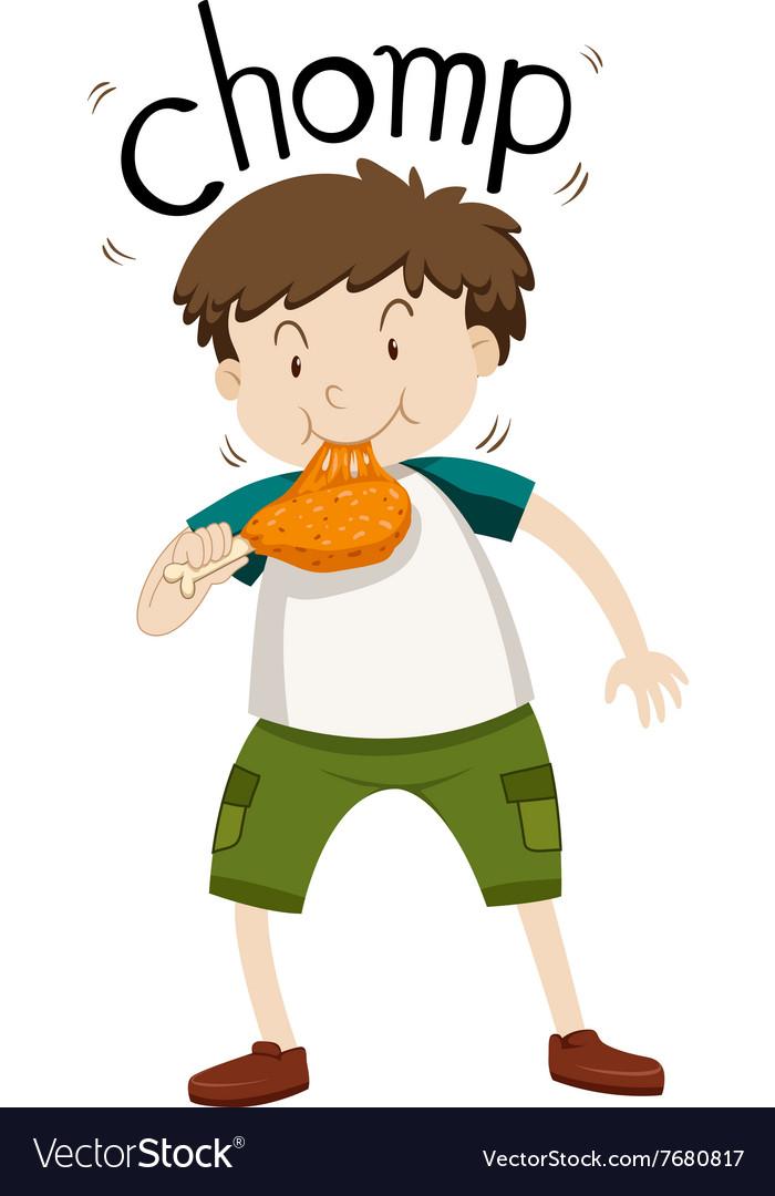 Fat boy eating chicken vector image