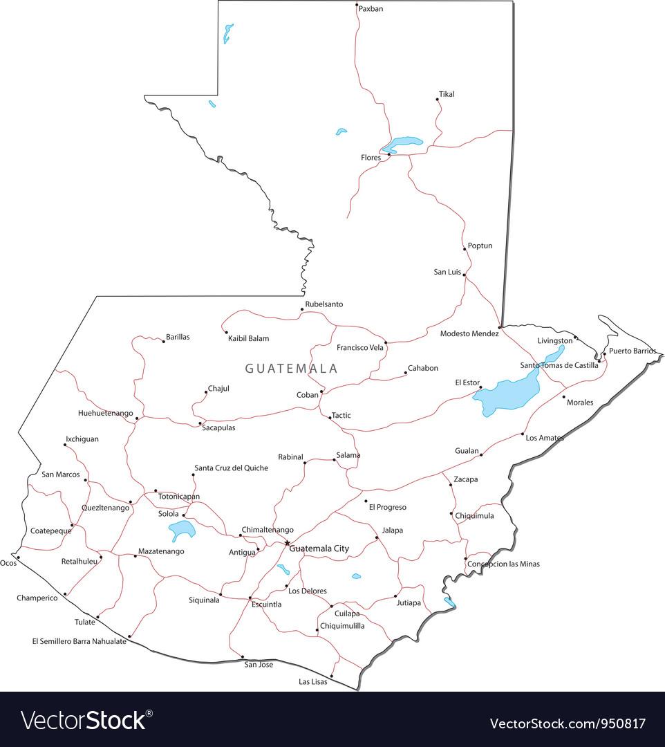 Guatemala Black White Map vector image