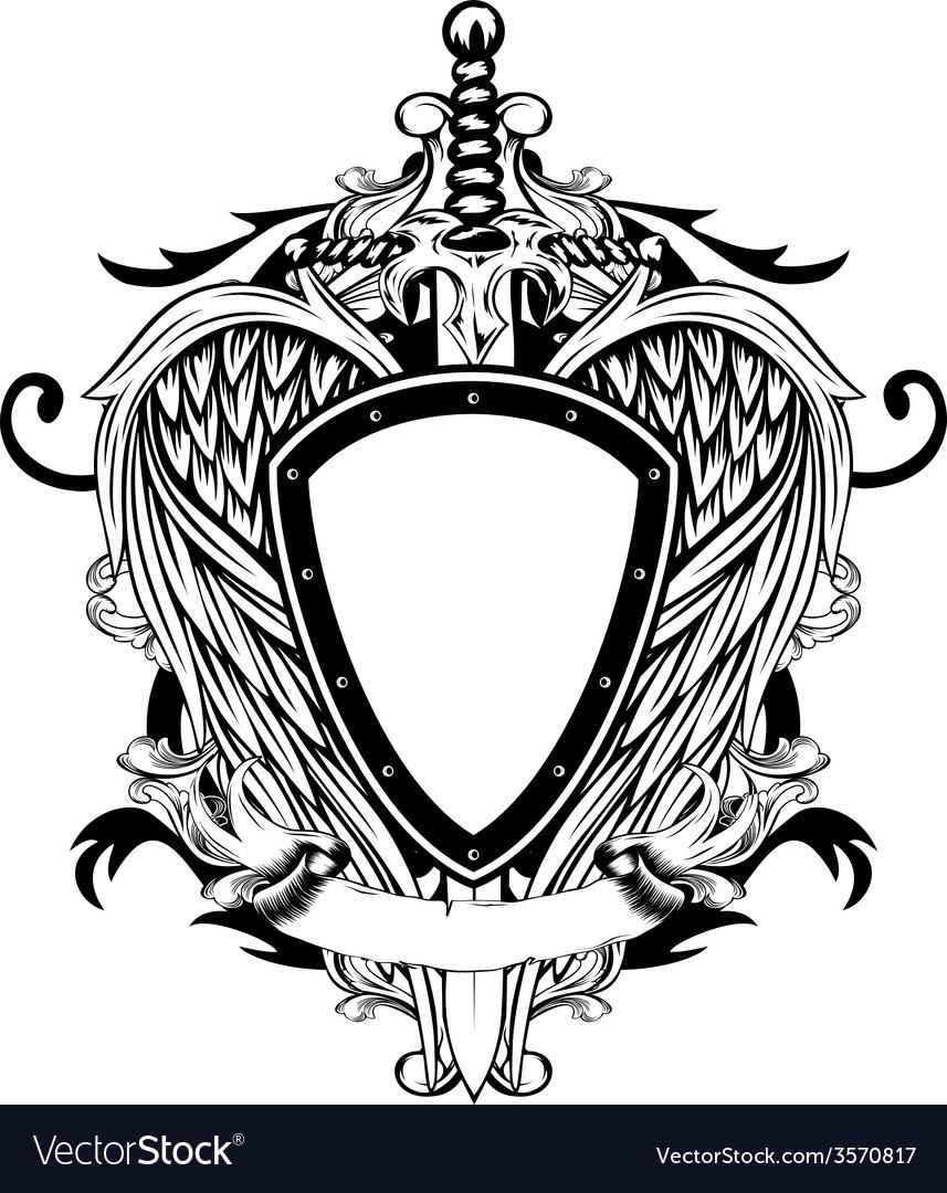 shield and sword royalty free vector image   vectorstock