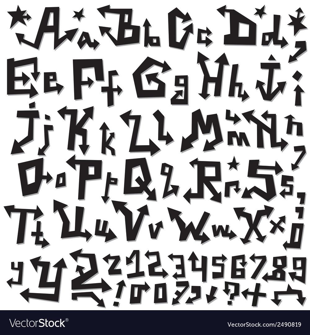 Alphabet doodles vector image