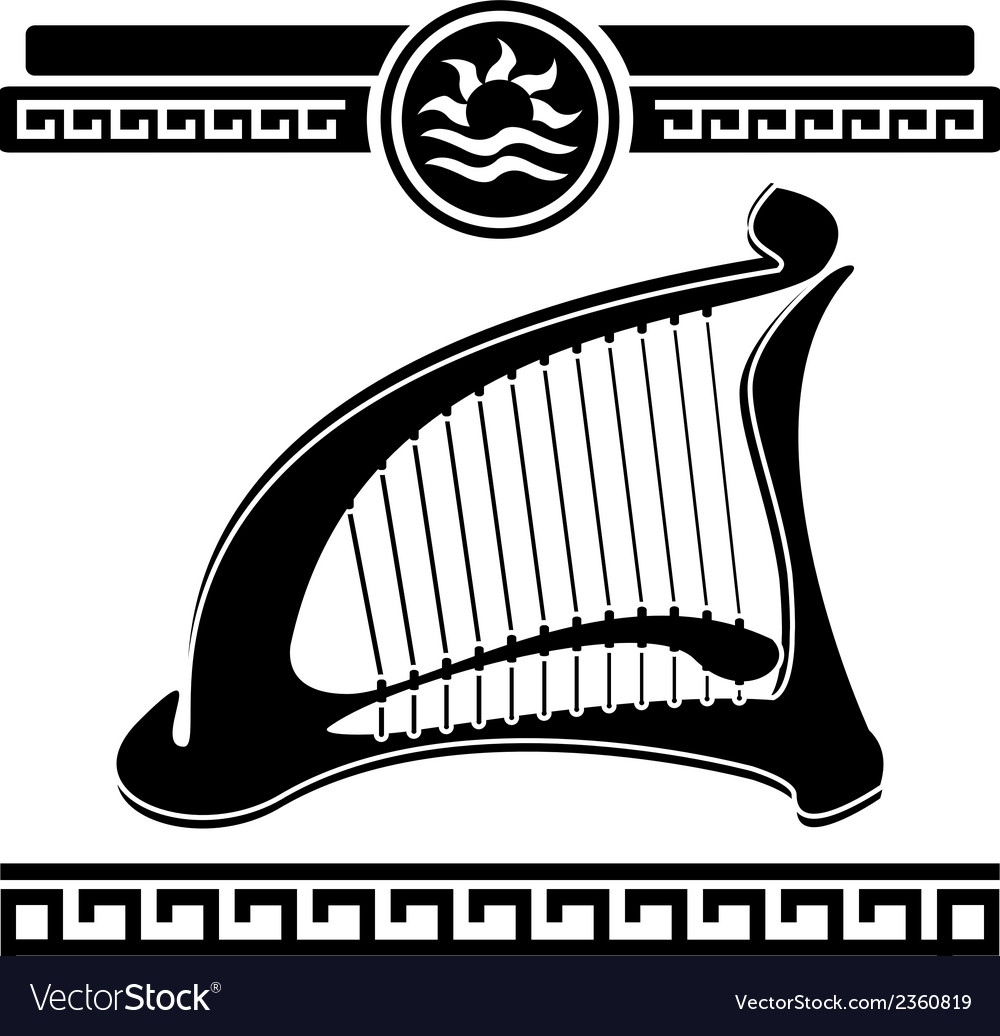 Ancient harp vector image