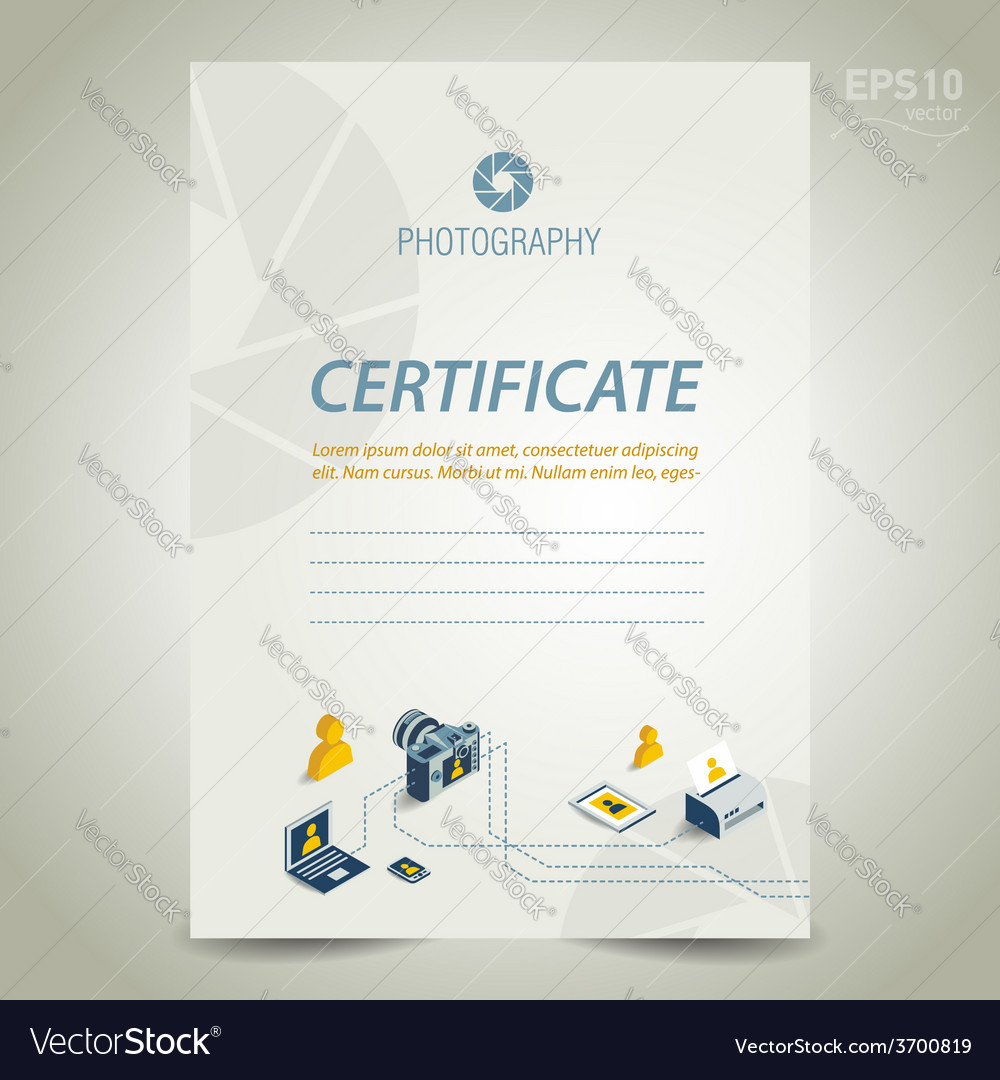 Photography certificate template design camera vector image yadclub Gallery