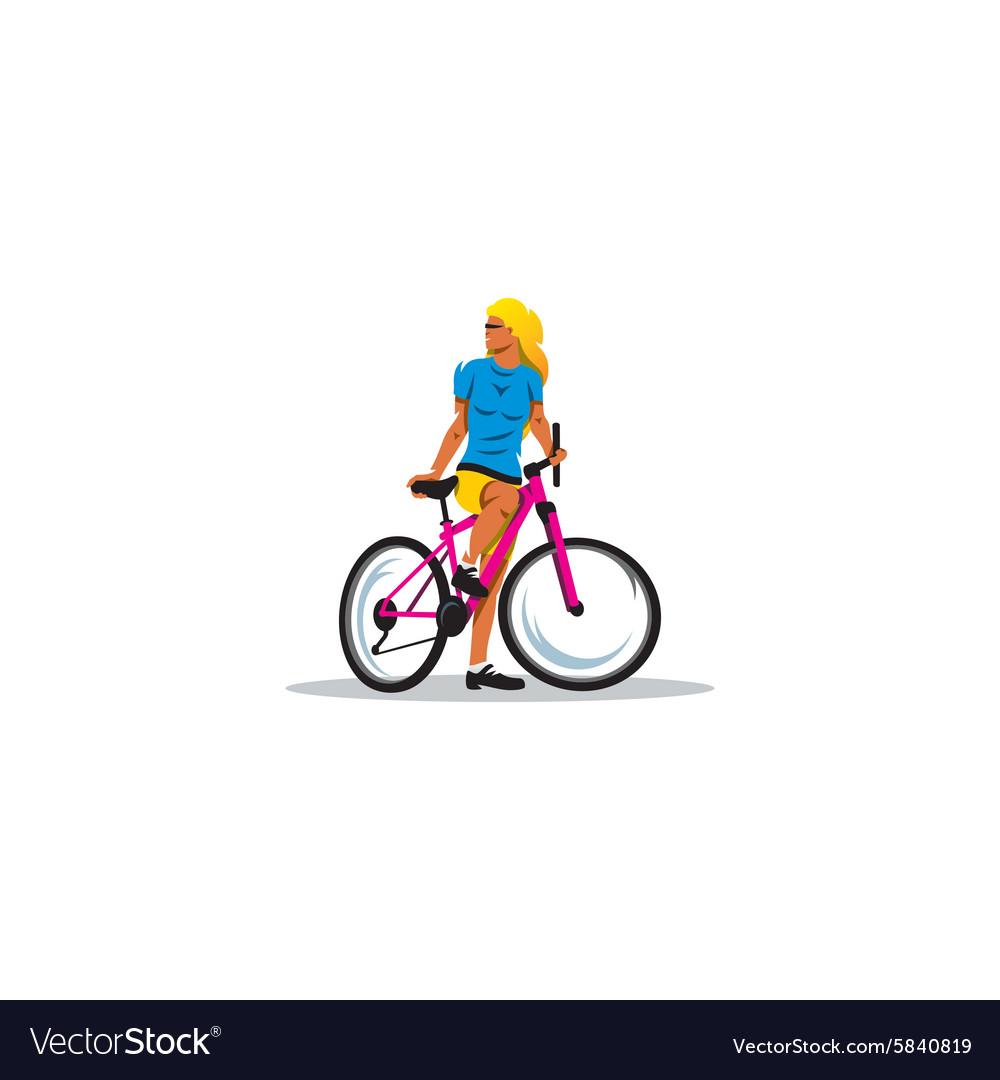Sexy Girl on Bike sign vector image