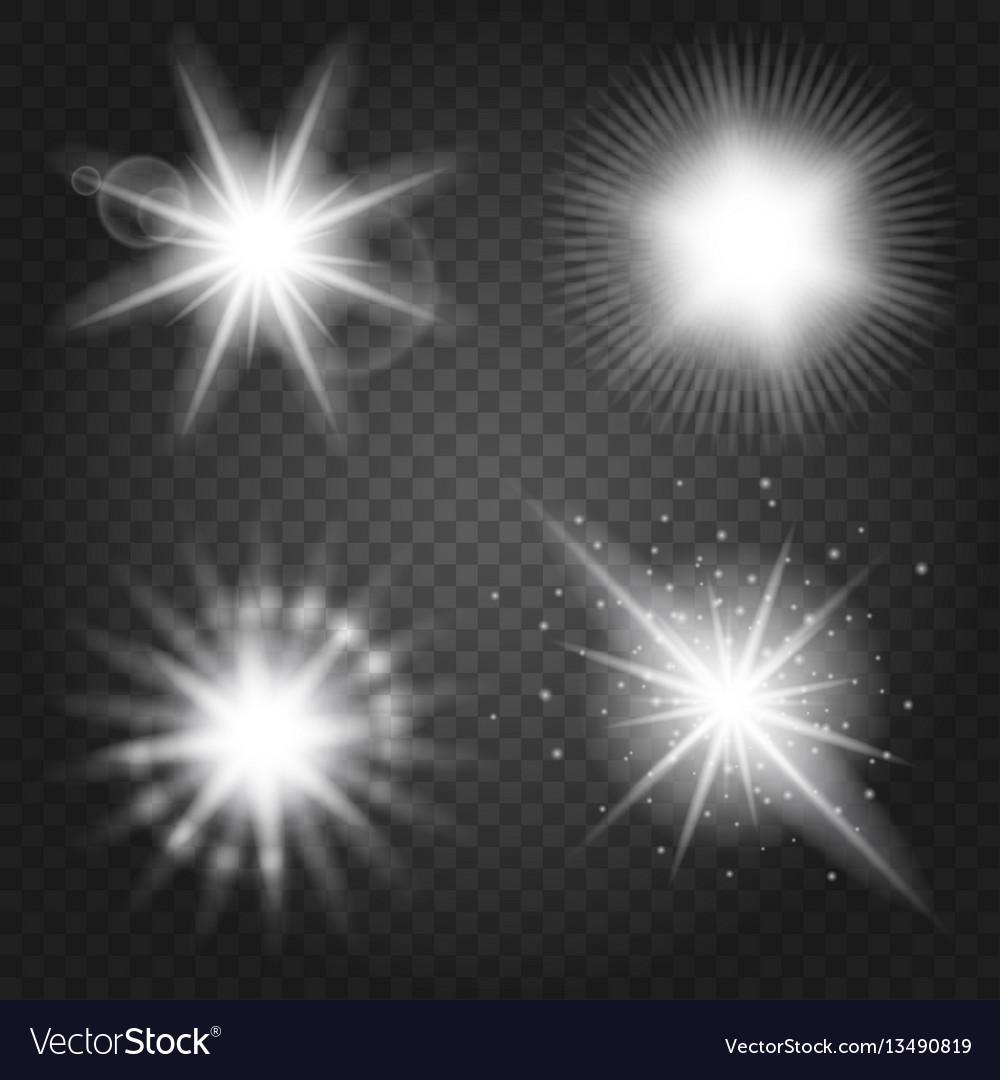 Stars set on transparent background vector image