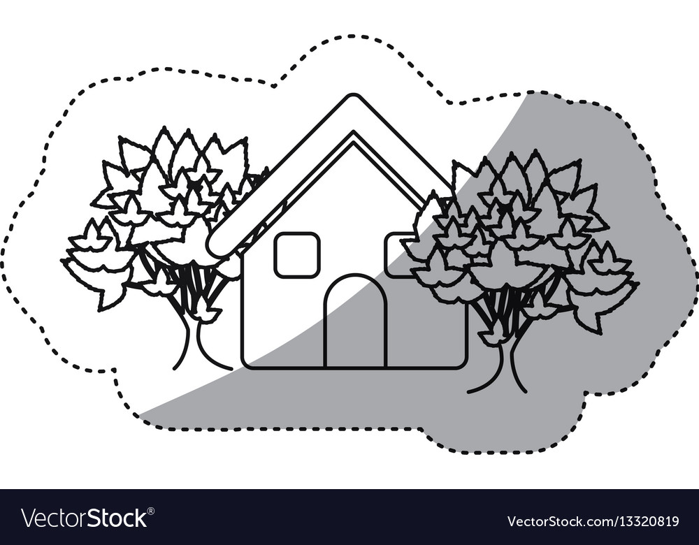 Sticker monochrome contour house with trees vector image