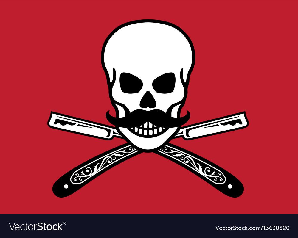 Skull with crossed razors vector image