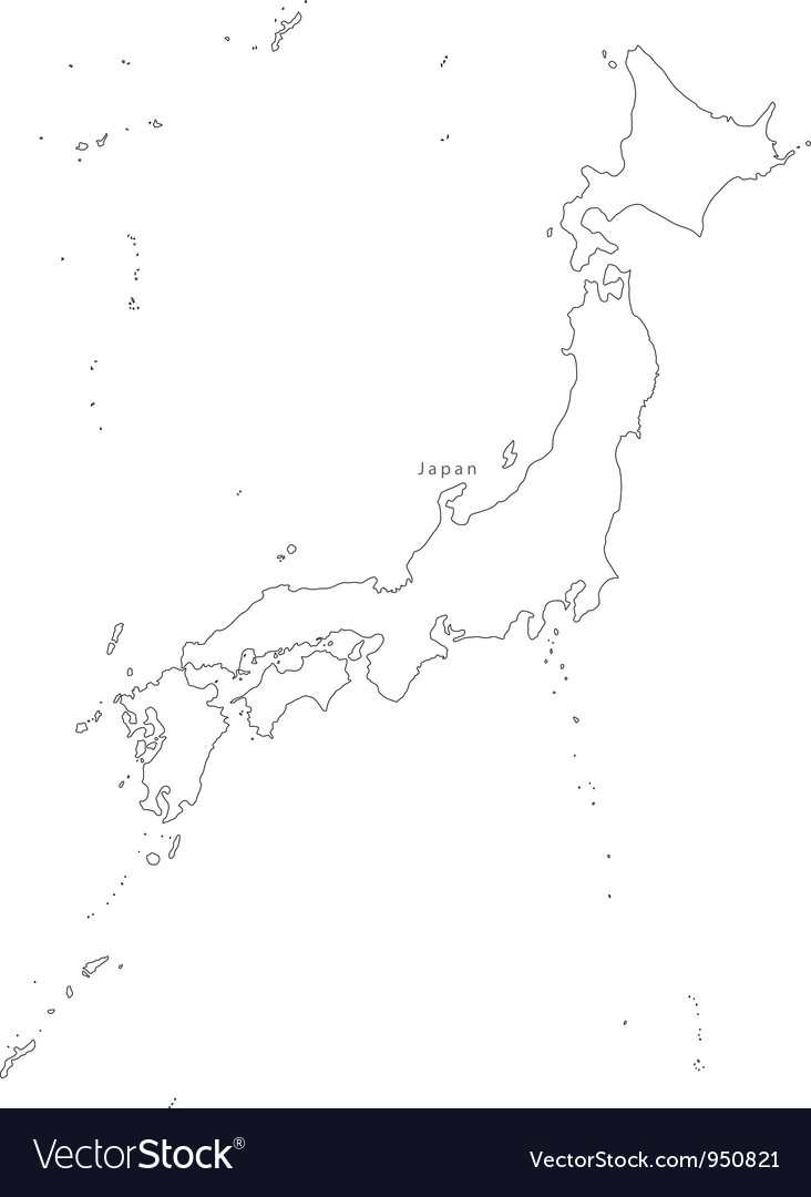 Black White Japan Outline Map Royalty Free Vector Image - Japan map black and white