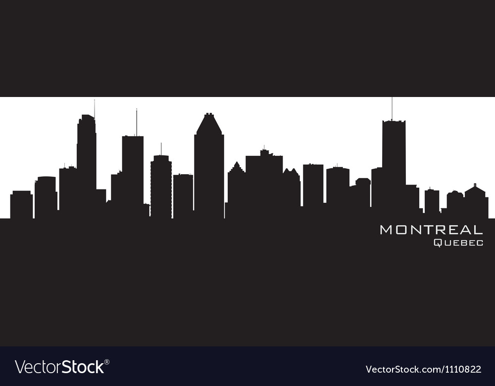 Montreal Canada skyline Detailed silhouette vector image