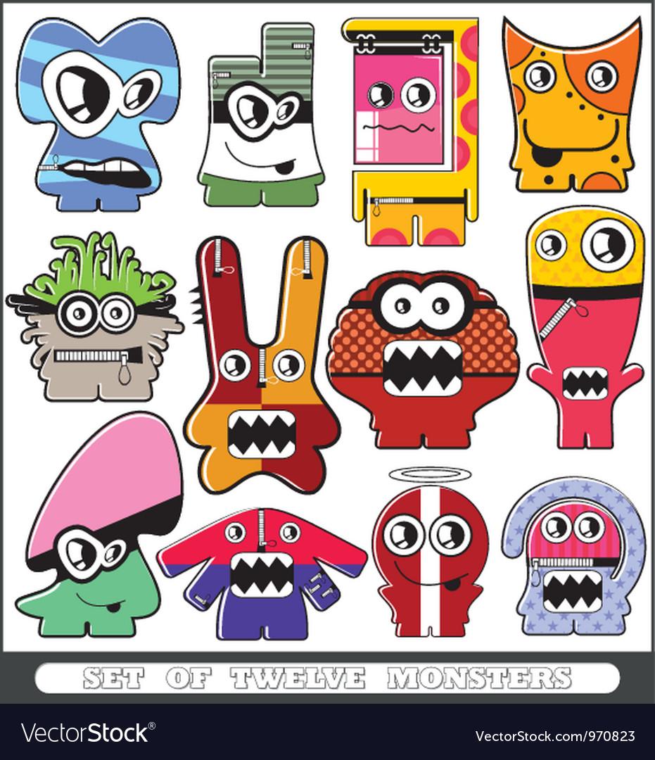 Set of twelve monsters vector image