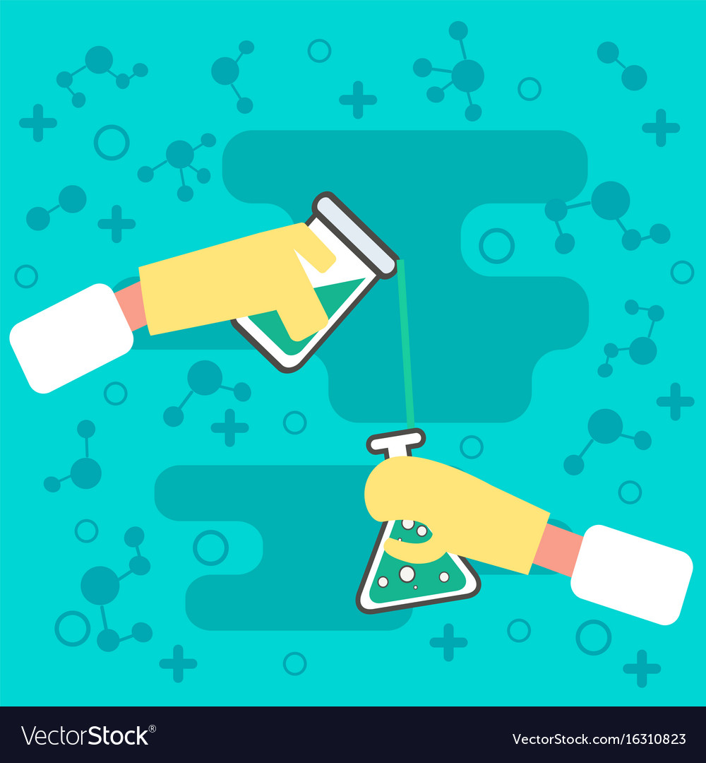 Hands holding chemistry science equipment vector image