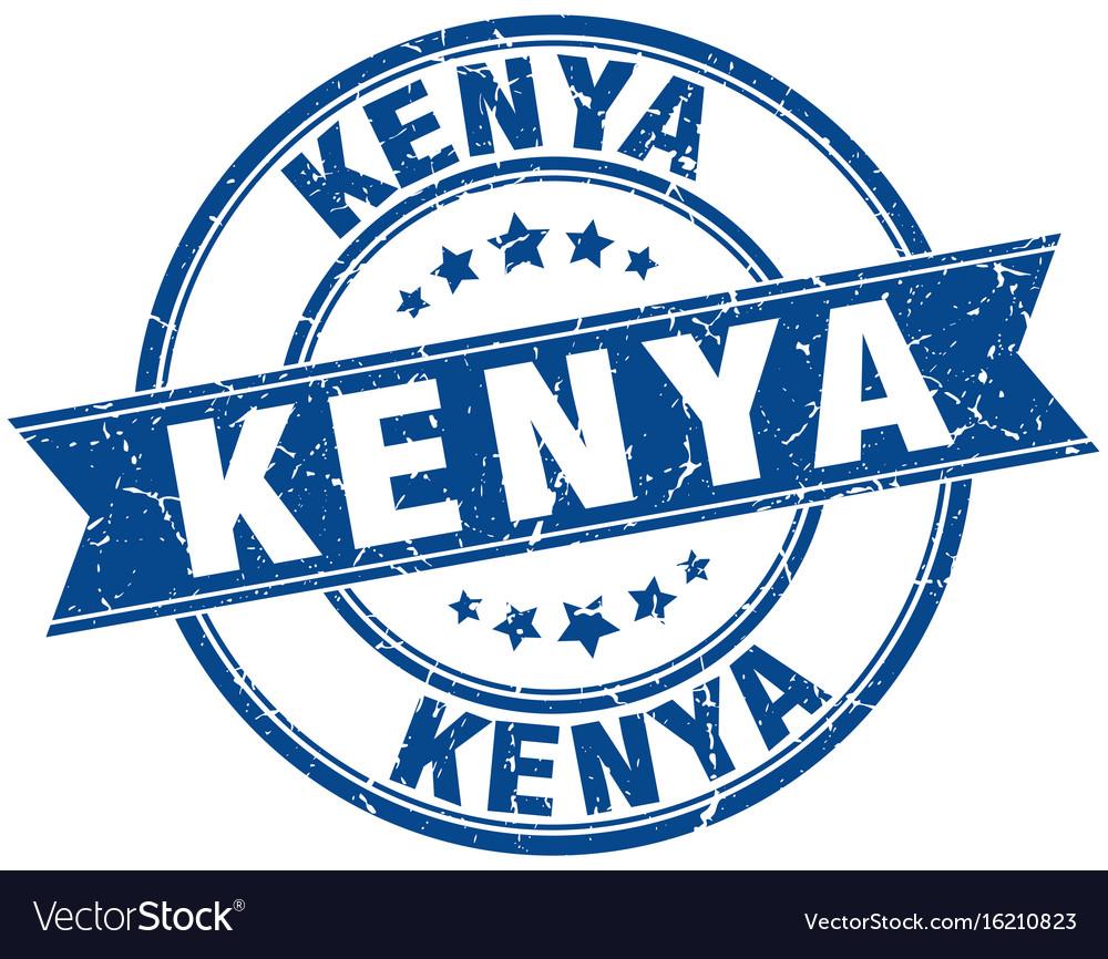Kenya blue round grunge vintage ribbon stamp vector image