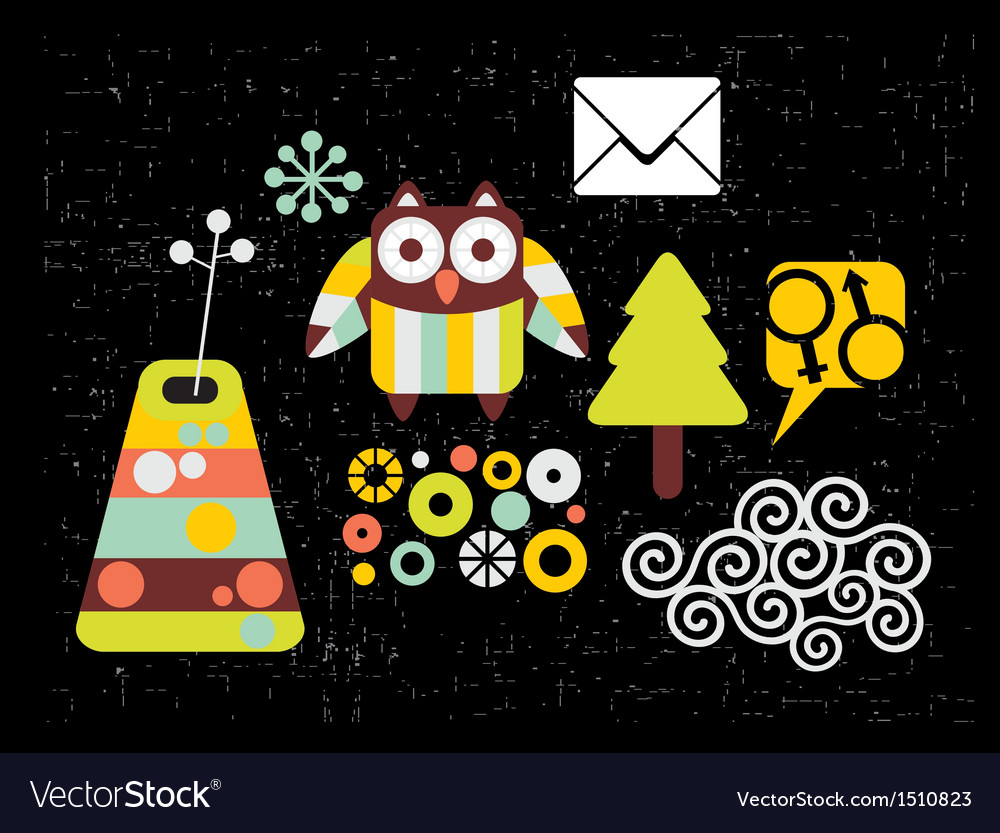 Set of images with owl vector image