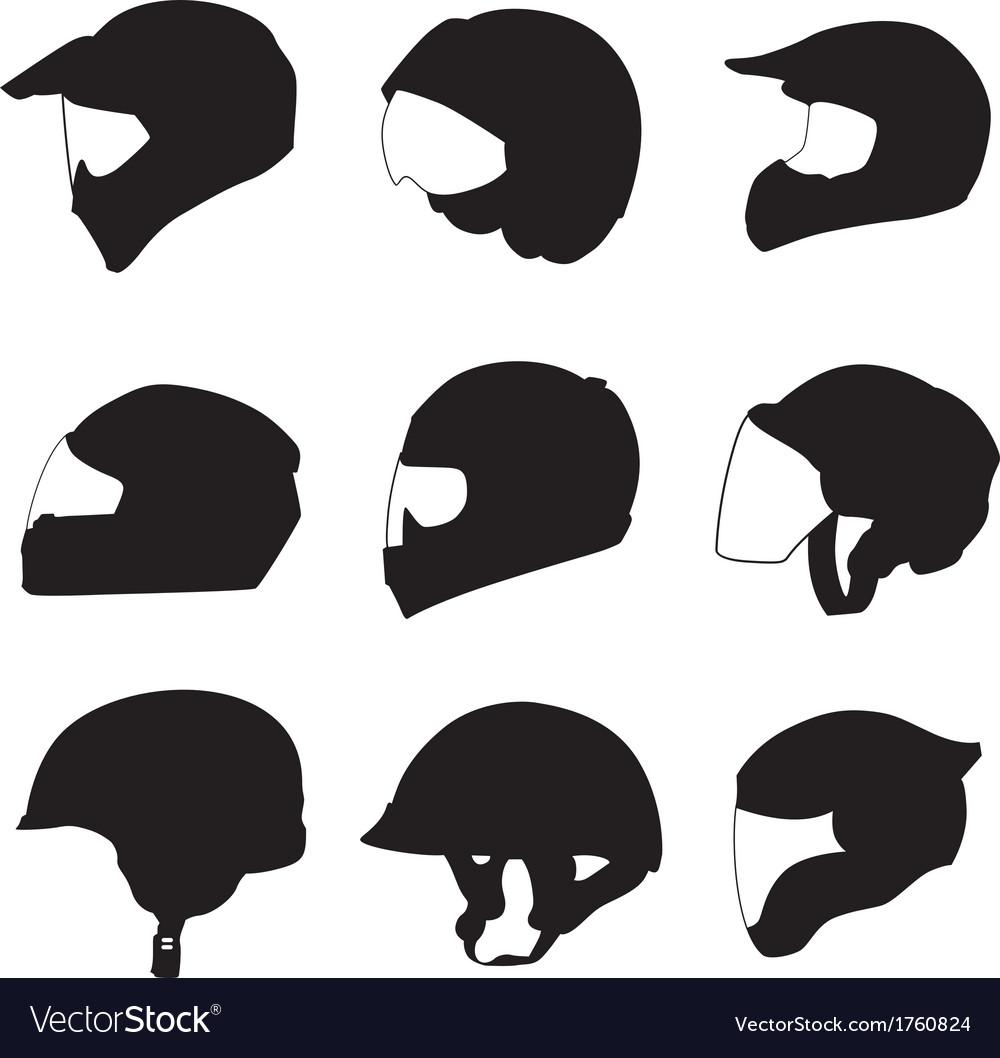 Motorcycle Helmets Royalty Free Vector Image Vectorstock