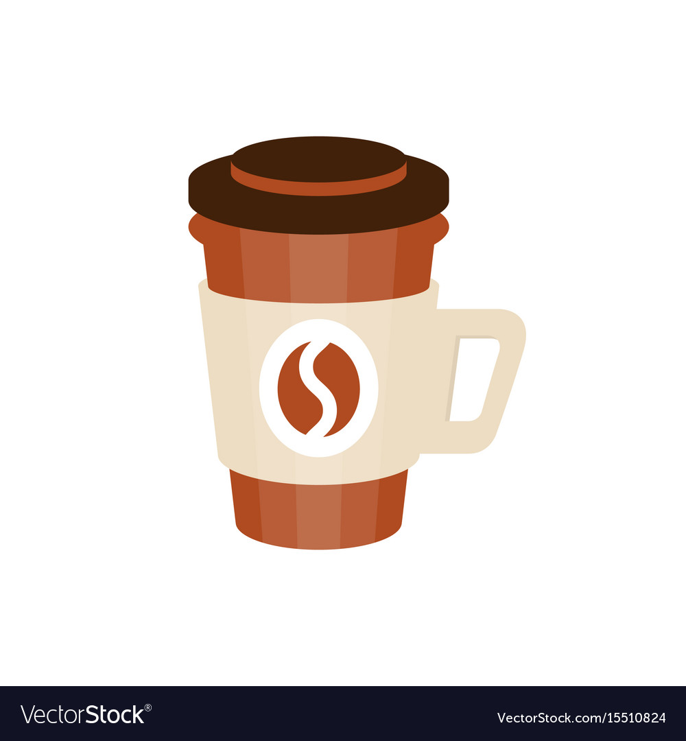 Thermo plastic coffee cup with coffee bean logo vector image