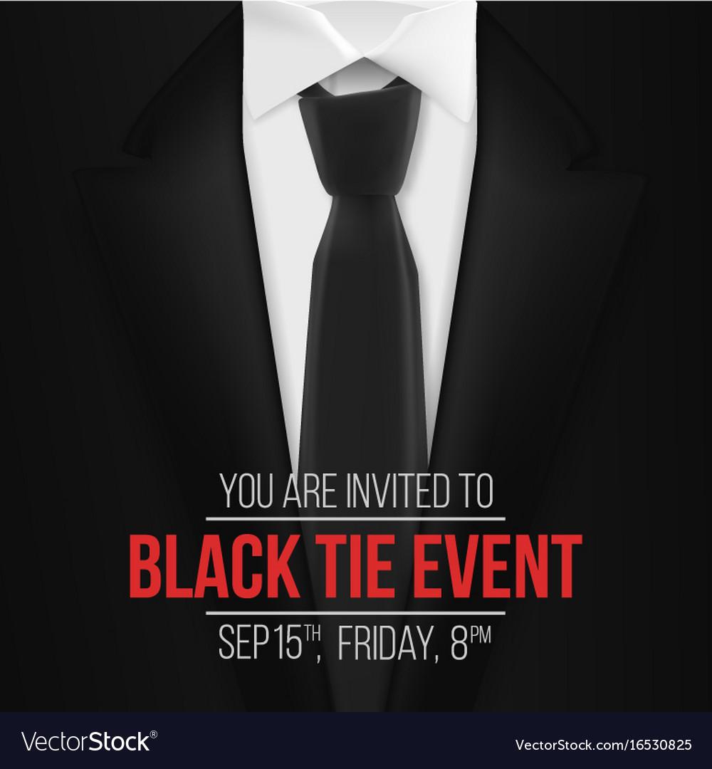 black suit black tie event invitation template vector image. Black Bedroom Furniture Sets. Home Design Ideas