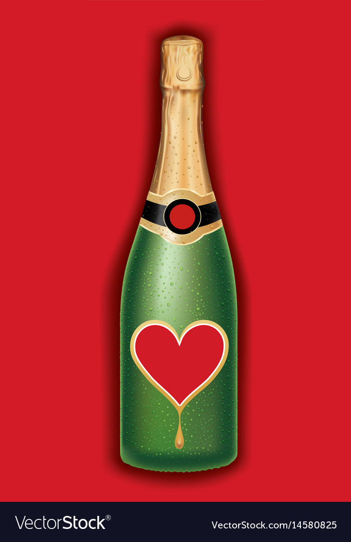 Champagne bottle with heart valentine packaging vector image