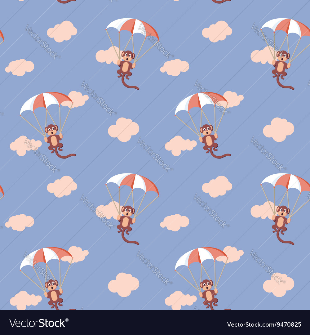Pattern of monkeys with parachute Rose Quartz and vector image