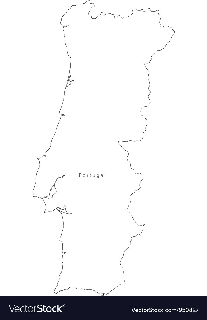 Black White Portugal Outline Map Royalty Free Vector Image - Portugal map black and white