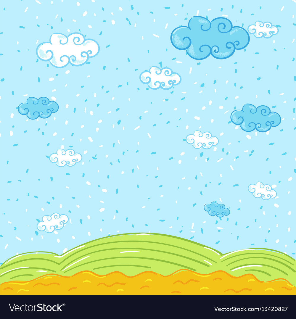 Nature summer landscape in cartoon style vector image