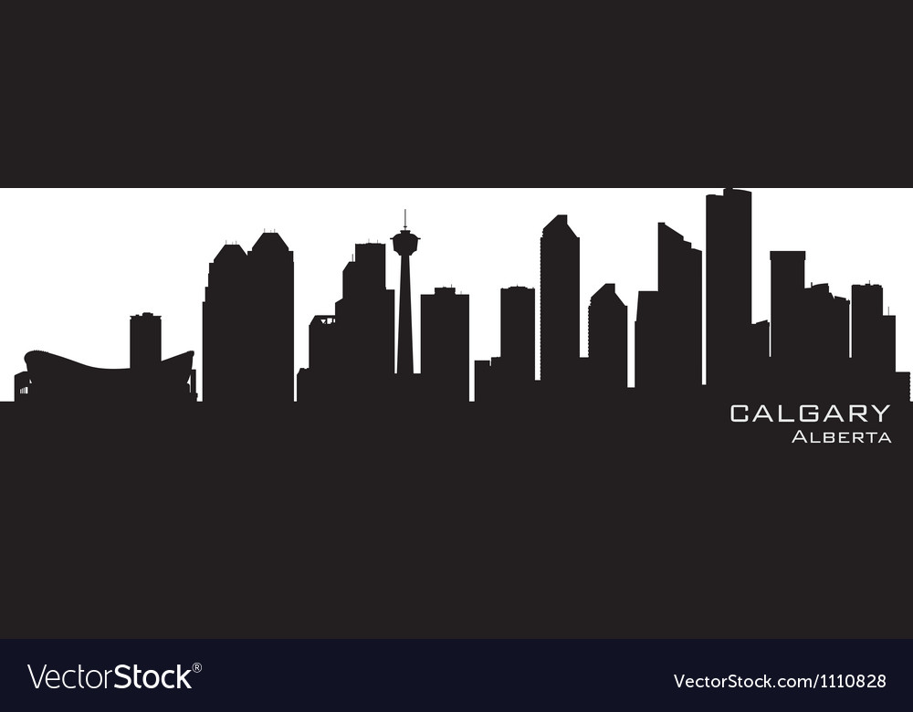 Calgary Canada skyline Detailed silhouette vector image