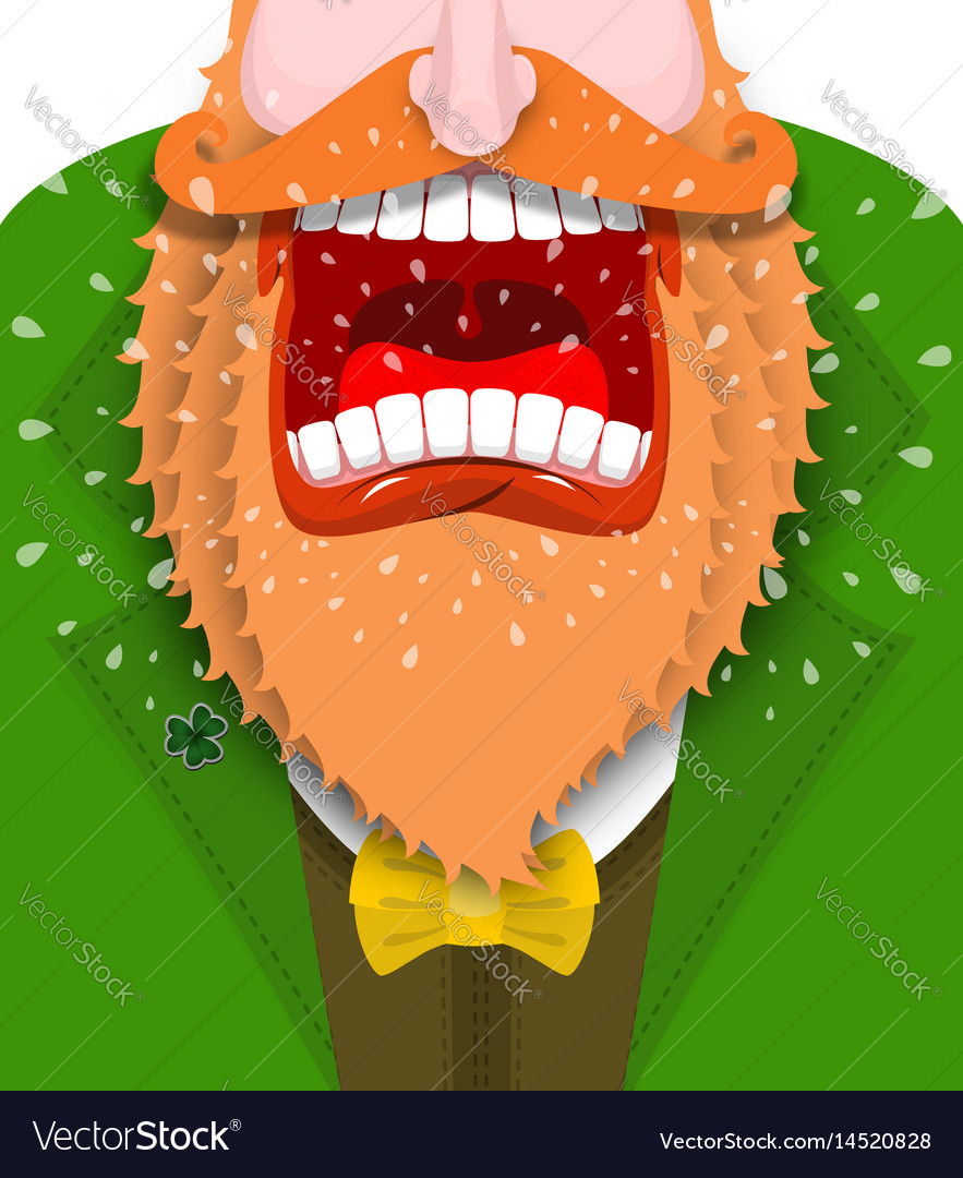 Leprechaun cry for st patricks day scary gnome Vector Image