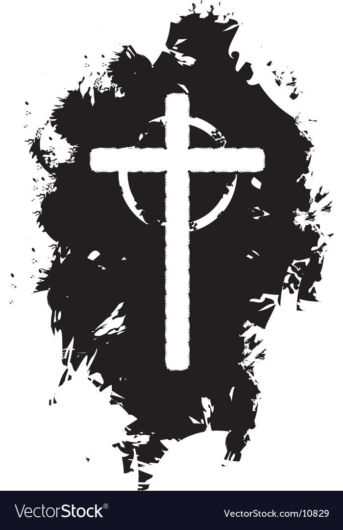 Grunge Christian cross vector image