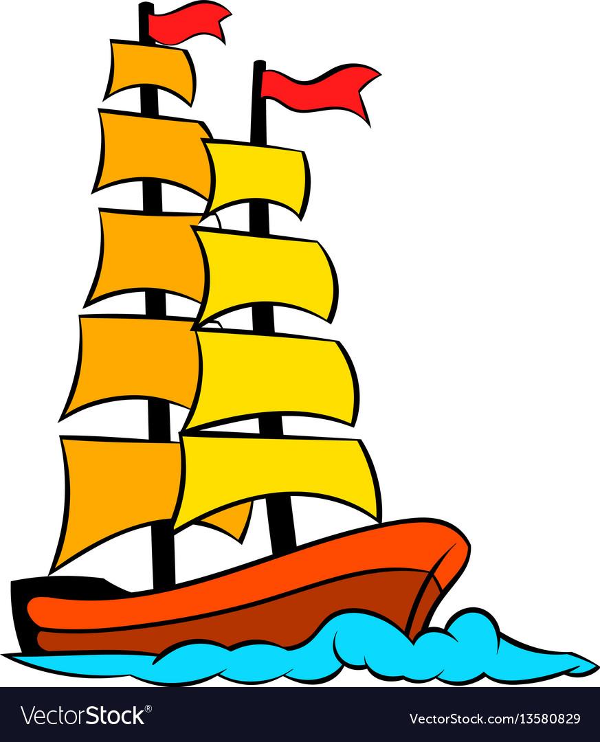 Old sailing ship icon icon cartoon vector image