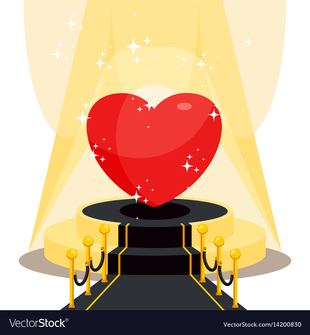 Heart on black carpet vector image