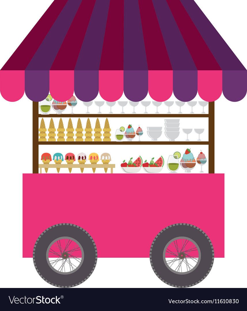 Ice cream cart icon vector image