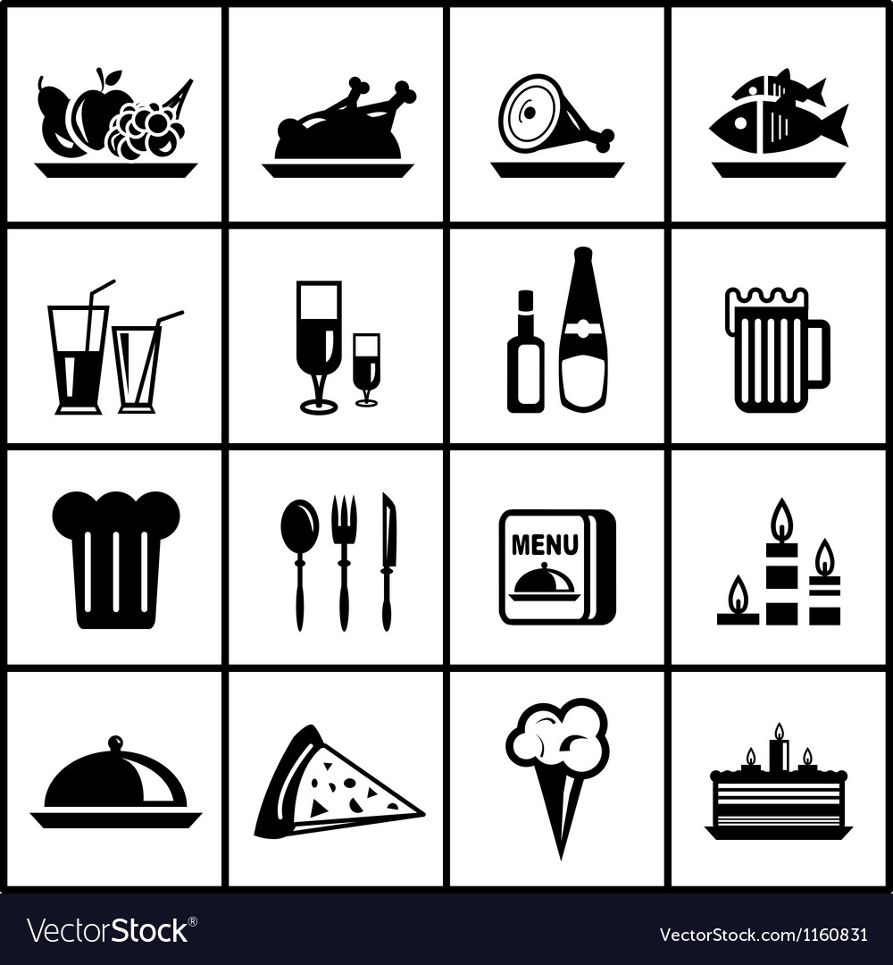 Restaurant food black icon set Vector Image