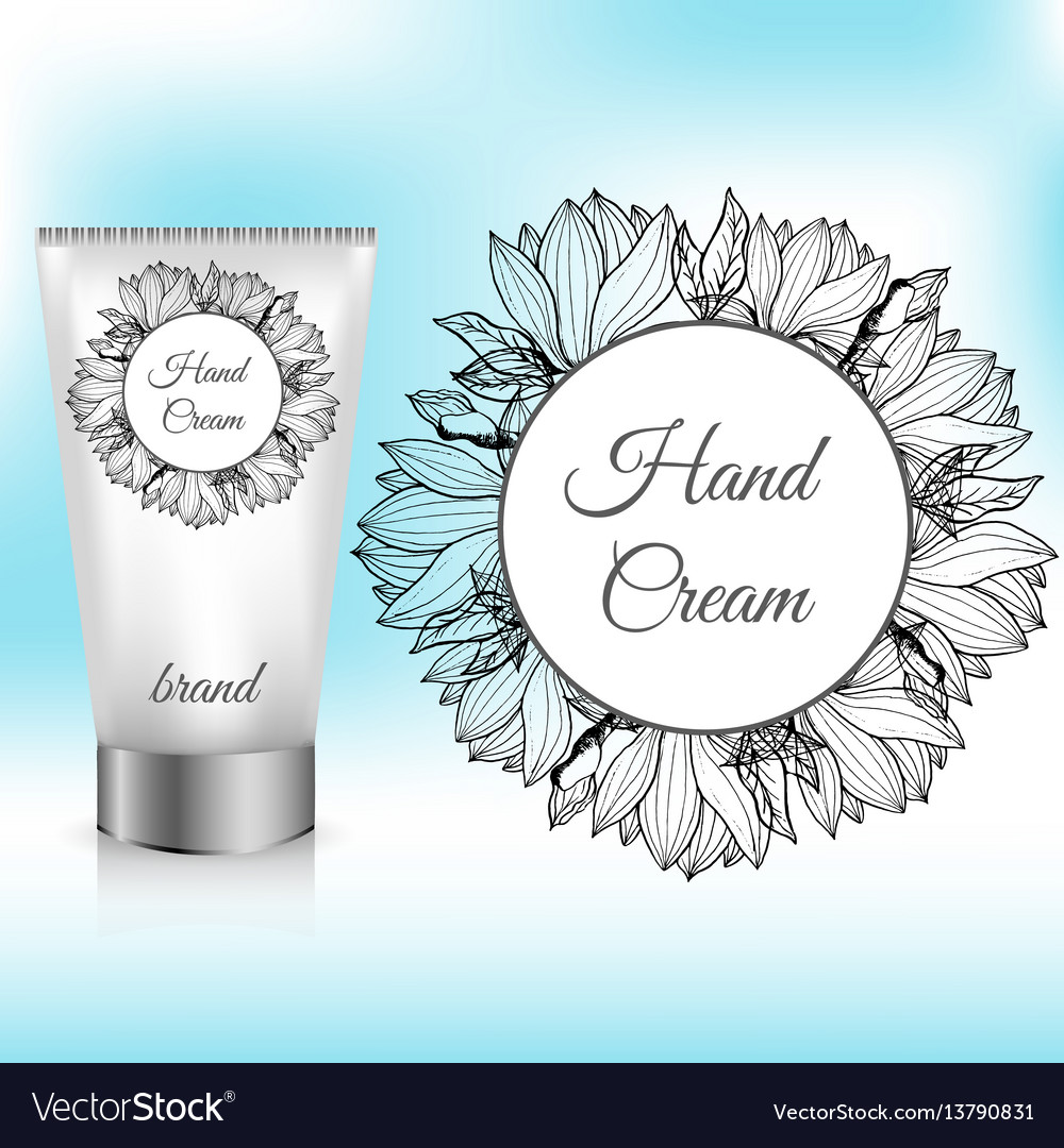Hand cream packaging with magnolia wreath vector image