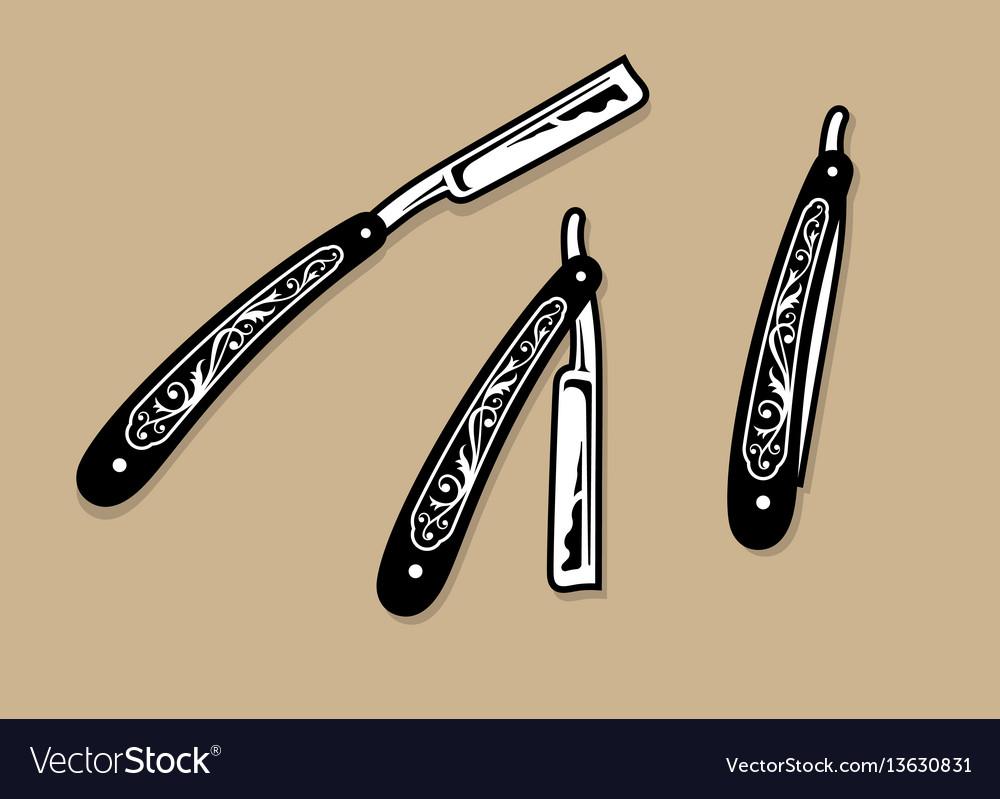 Vintage ornate straight razors vector image