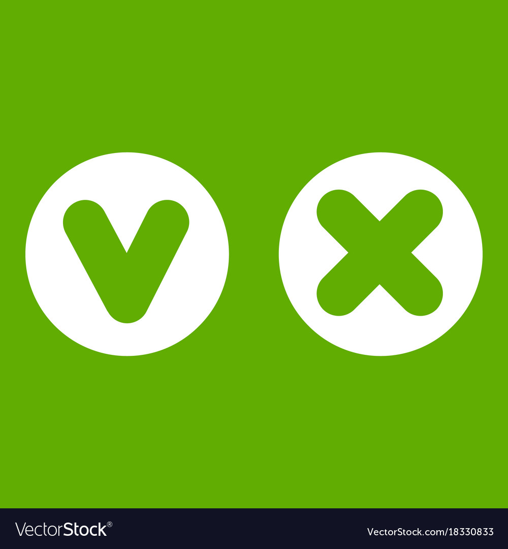 Fat tick and cross in circles icon green vector image fat tick and cross in circles icon green vector image biocorpaavc