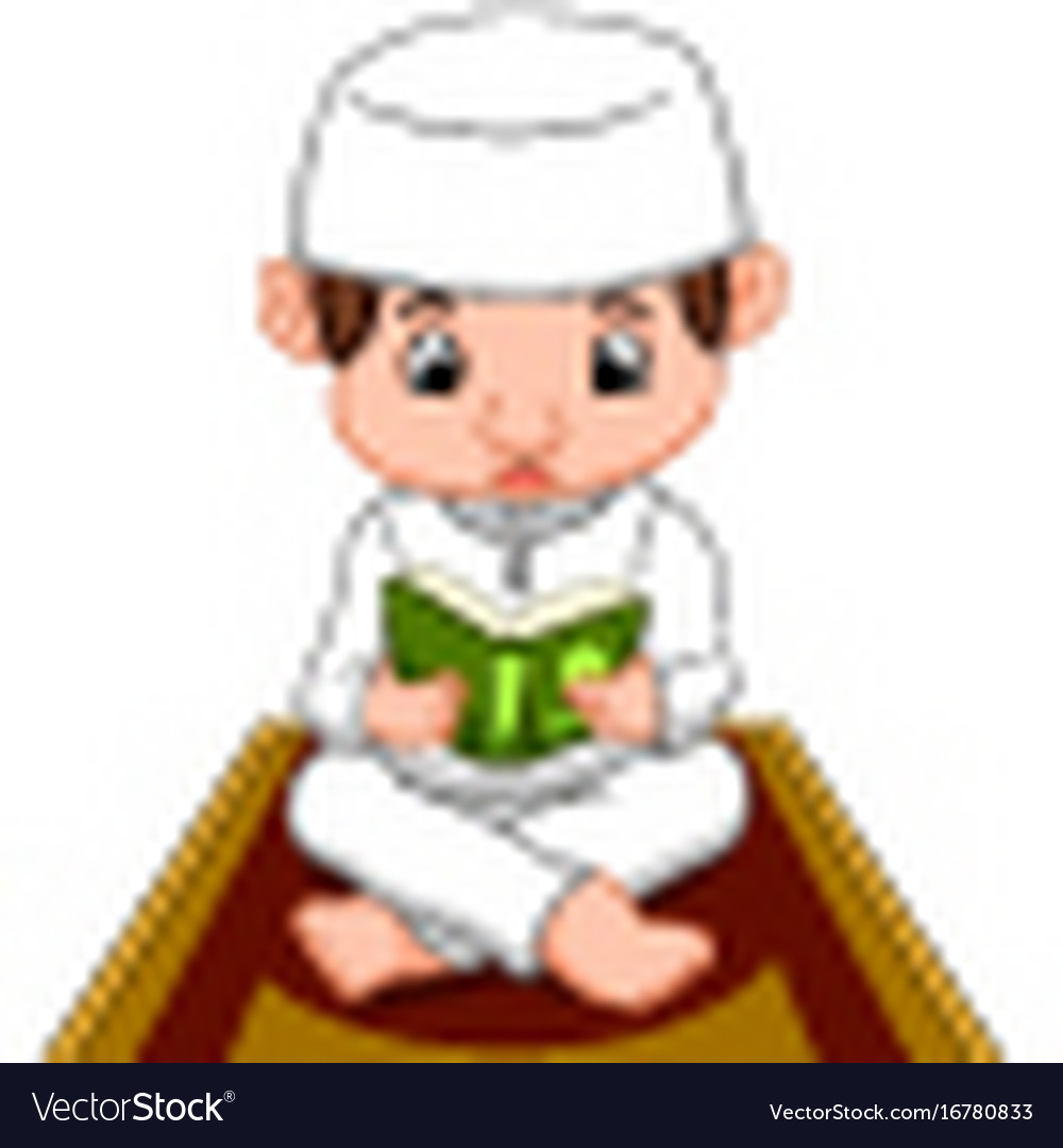 Muslim boy praying vector image