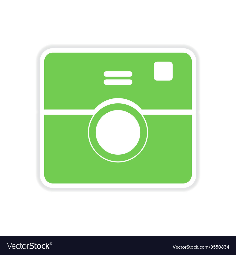 Paper sticker on white background camera