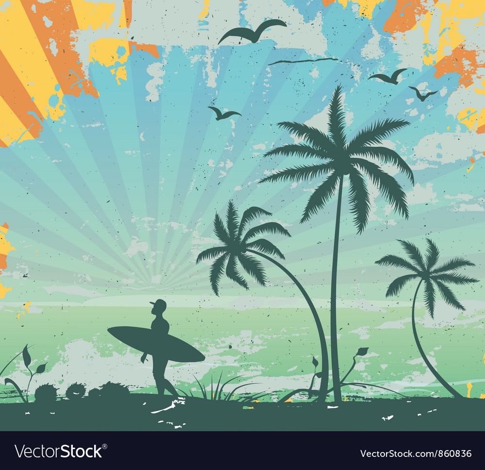 Grunge summer background vector image