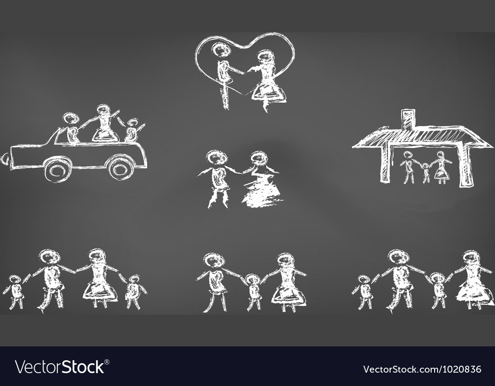 Doodle happy family on blackboard vector image