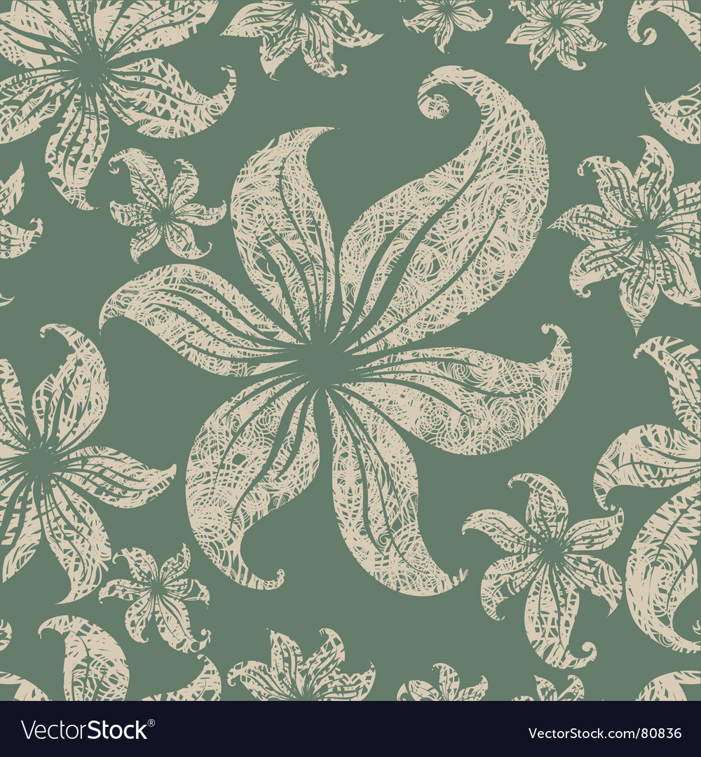 Seamless grunge floral pattern vector image