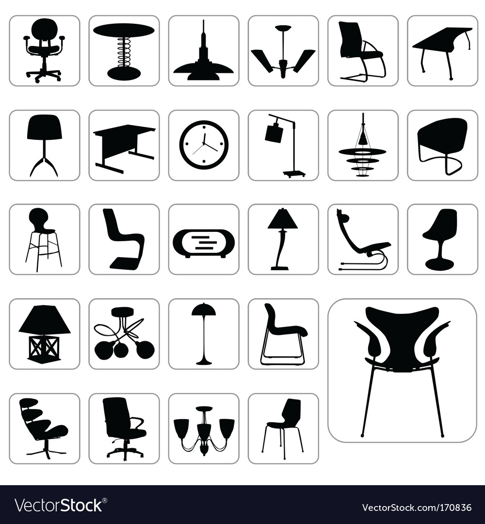 Set of modern furniture vector image