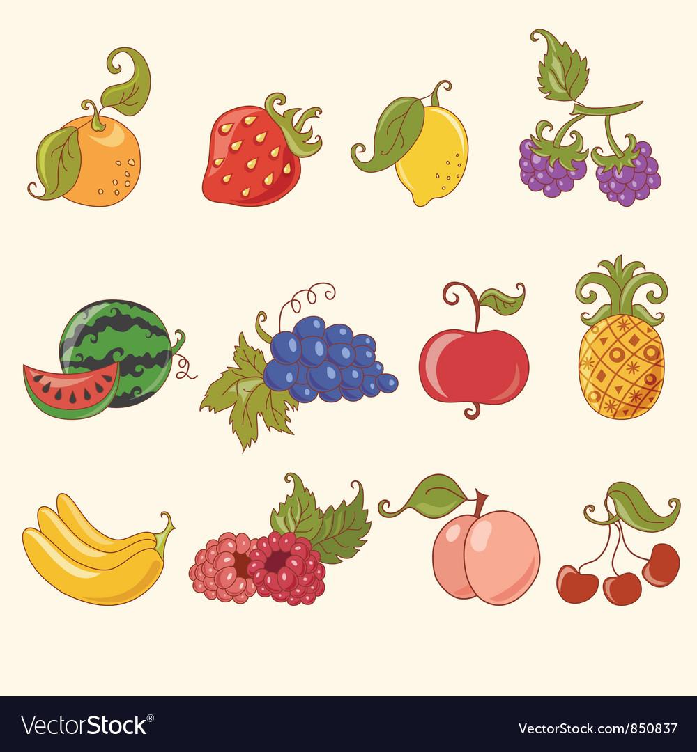 cartoon fruit set royalty free vector image vectorstock