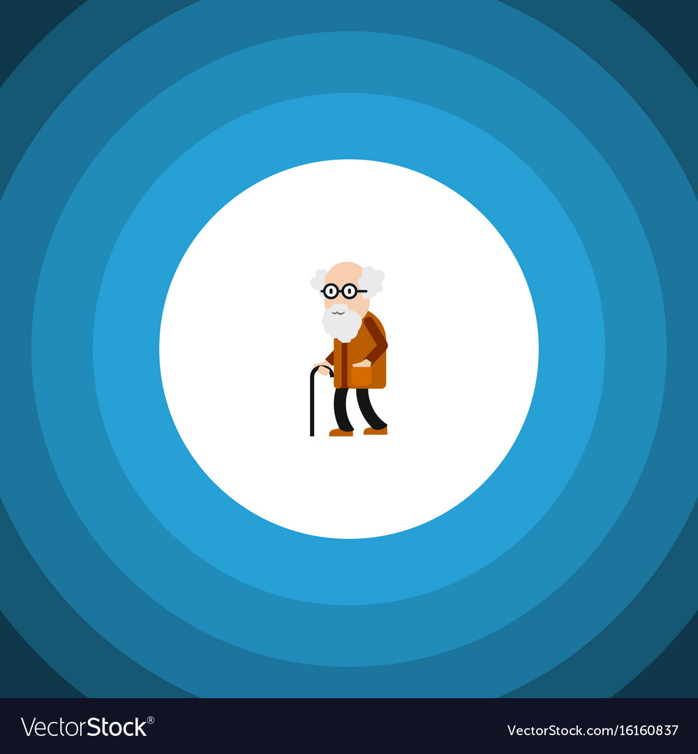 Isolated old man flat icon ancestor vector image