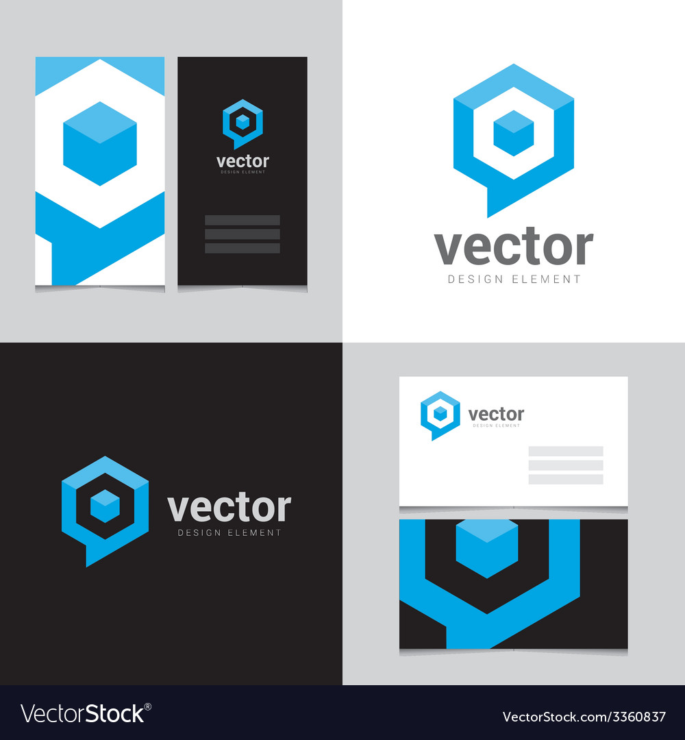 Logo design element with two business cards - 12 vector image
