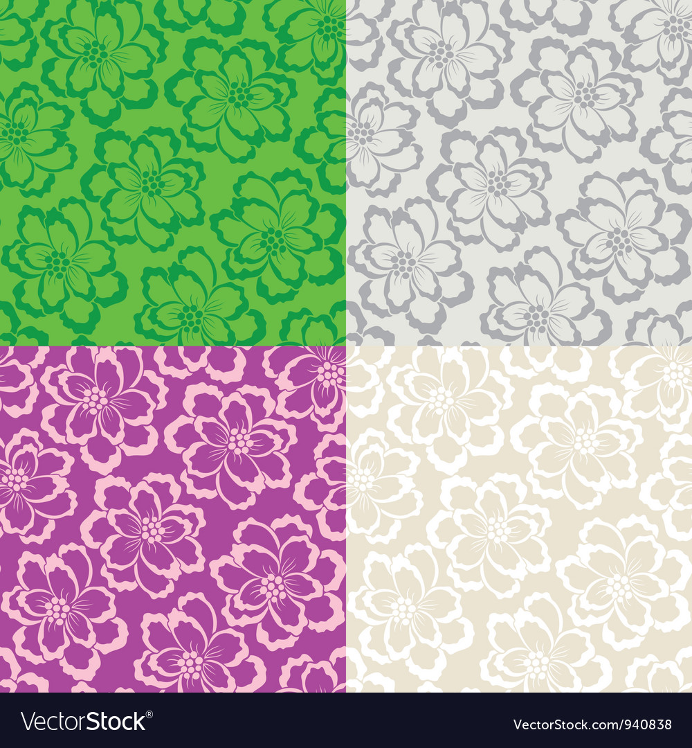 Decorative floral seamless background Vector Image