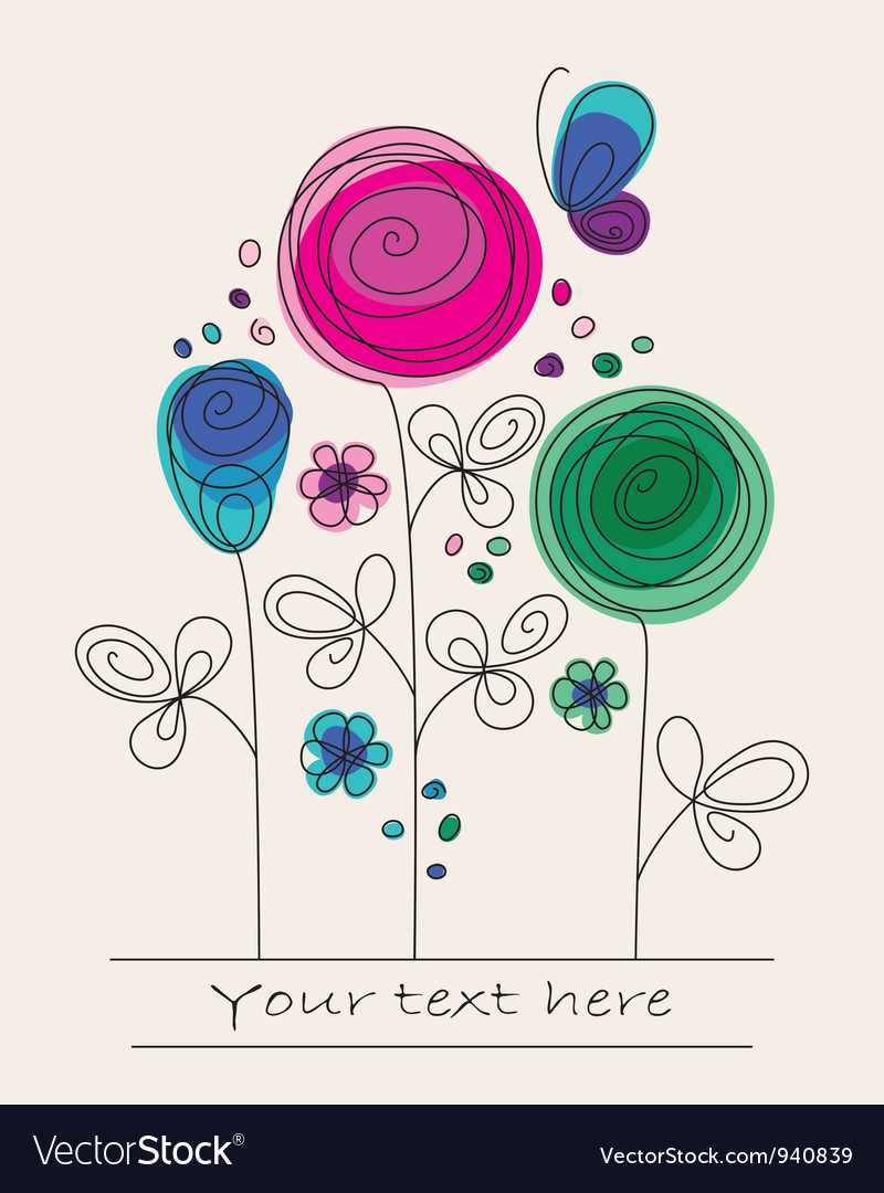 Funny colorful background with abstract flowers vector image