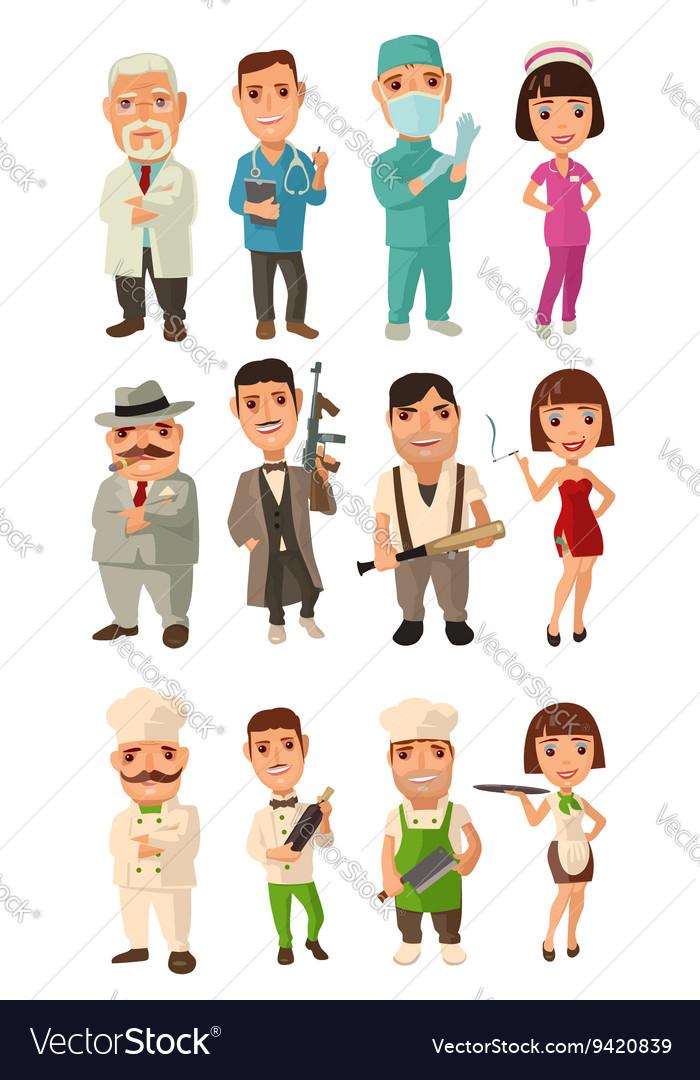 Set icon character cook mafia doctor Waiter vector image